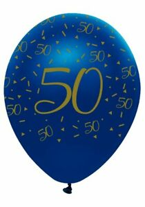 6 Navy & Gold Geode Age 50/50th Birthday Party Latex Balloons
