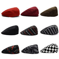 Mens Fashion Newsboy Driver Beret Hats Solid Cotton Cabbie Golf  Flat CapBEST