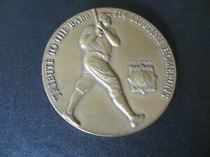 "1974 MEDALLIC ART BABE RUTH BRONZE TRIBUTE COIN 2 1/2 "" WITH STAND NICE!!!"