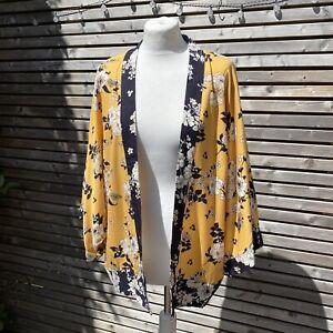 Oasis Yellow Navy Mix Floral Kimono Jacket Size 16 BNWT RRP £40