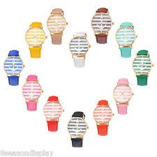 FL Gold  Stripe Case Watch Womens Fashion Faux Leather Quartz Wrist Watch