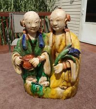 Antique Chinese Sancai Glazed Pottery HoHo Twins early Qing Kangxi Period
