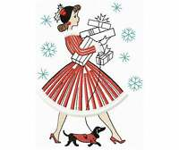 Vintage Christmas Lady  walking Dachshund BATHROOM SET HAND TOWELS Adorable
