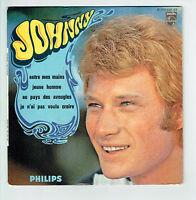 "Johnny HALLYDAY Vinyle 45T 7"" EP ENTRE MES MAINS -JEUNE HOMME - PHILIPS 437439"