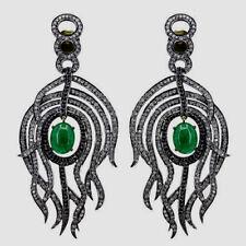 Natural Rose Cut Diamond & Emerald 18k Gold 925 Sterling Silver Fine Earrings