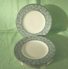 "6 vintage Wedgwood Moselle Grey bone china dessert / pie plates - 17.5 cms (7"")"