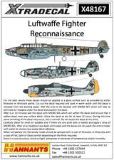 XTRADECAL 1/48 Luftwaffe RICOGNIZIONE CACCIA # 48167