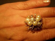 Pearls In 14K Yg Cocktail Ring Gorgeous Vintage Huge 11.3 gr Diamonds And