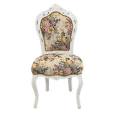 CHAIRS FRANCE BAROQUE STYLE DINING ROYAL CHAIR WHITE / FLORAL #60ST5
