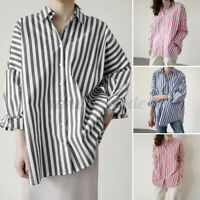 ZANZEA Women Striped Full Sleeve Tops Ladies Office Baggy Oversized Shirt Blouse