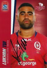 ✺Signed✺ 2017 QUEENSLAND REDS Rugby Union Card LUKHAN TUI
