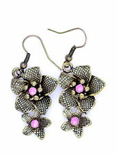 vintage boho style bronze flower chandelier earrings