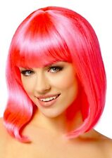 Neon Hot Pink Pageboy Wig Shoulder Length Costume Cosplay Wig with Bangs NEW