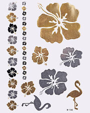 GOLD Tattoo Flash Tattoos Einmaltattoos Beauty Modeschmuck Blumen Schwan W-144