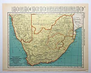 1938 Vintage SOUTH AFRICA Authentic Antique Atlas Map - Collier's World Atlas