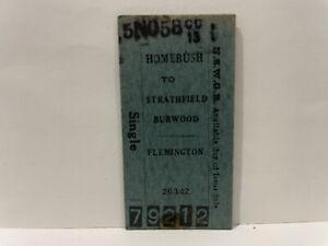 NSWGR Railway Homebush To Flemington Single Ticket 1958