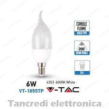 Lampadina led V-TAC 6W = 40W E14 bianco freddo 6000K VT-1855TP a fiamma SMD VTAC