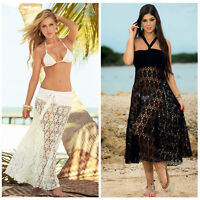 Summer Sexy Women Beach Cover ups Mesh Hollow out Crochchet Bikinis Skirt Dress