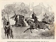 PARIS JOUTES TOURNOI CHEVALIER ARMURE KNIGHTS IMAGE 1878 ENGRAVING