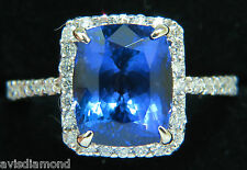 NATURAL 6.23CT TANZANITE HALO DIAMOND RING A+ CUSHION CUT & LUSTER VS+