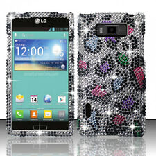 LG Optimus Showtime Crystal Diamond BLING Hard Case Phone Cover Rainbow Leopard