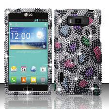 LG Optimus Showtime Crystal Diamond BLING Hard Case Phone Cover Rainbow Leopard