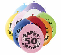 """50th Birthday 9"""" Latex Balloons - 10 Pack - Mixed Colours Party Air Fill"""