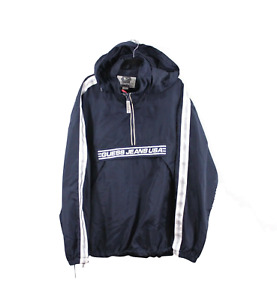 Vintage 90s Guess USA Mens XL Spell Out Hooded Anorak Jacket Windbreaker Blue