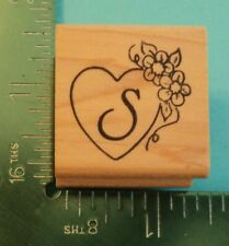 New ListingLetter / Initial S in Heart with Flowers Rubber Stamp by Embossing Arts Monogram