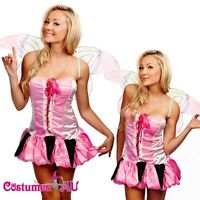 Ladies Pink Fairy Dress Up Princess Costume Fancy Dress Butterfly Wings