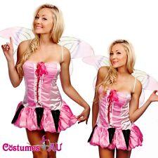 Ladies Pink Fairy Dress Up Princess Costume Fancy Dress Butterfly Wings