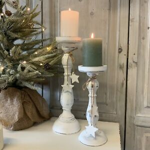 White Rustic Wooden Candlestick Christmas Holder French Country Star Shabby Chic
