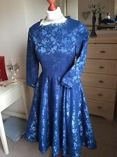 CLASSIC LINDY BOP DRESS BLUE WITH LACE DETAILING  Size 14 FREE POSTAGE TO UK.