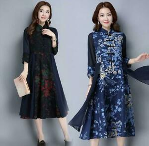 Women's Long Sleeves Chinese Style Retro Floral Printed A-lined Dress retro