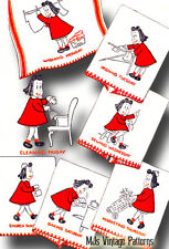 Vintage Little Lulu Days of the Week DOW Embroidery Applique Pattern
