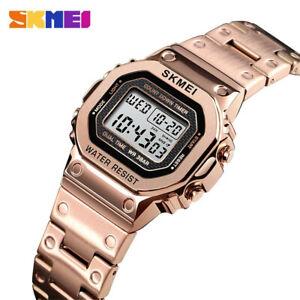 SKMEI Women Watches Gold Steel Wristwatch Fashion Digital Watch Ladies Girl Gift
