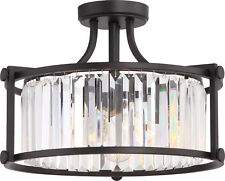 Nuvo Krys 3 Light Crystal Semi Flush Fixture with 60w Vintage Lamps I