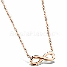 Gold Tone Stainless Steel Necklace Women's Delicate Love Infinity Symbol Rose