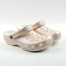 Crocs Classic Metallic Womens Clogs Rose Gold Comfort Shoes Unisex New With Tags