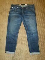 AG Adriano Goldschmied The Stilt Cigarette Roll Up Denim Jeans Crop- size 30R