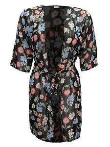 Ladies Women's Plus Size Floral Print Chiffon Open Front Tie Cardigan Size 14-26