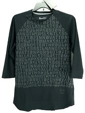 Under Armour Mens Top Fitted 3/4 Sleeve Black Perpetual Print HeatGear Size XL