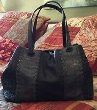 Bottega Veneta Navy Ayers (Snakeskin) Intreciatto (Leather)Small Tote Handbag