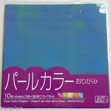 JAPANESE ORIGAMI PAPER - PEARL COLOURS 15 x 15cm 5 Colours 10 pieces