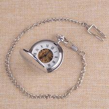 Retro Vintage Steampunk Skeleton Mechanical Pocket Watch Chain Full-Hunter New