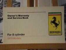 Ferrari Factory Original Warranty Book for 8 cylinder cars