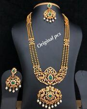 Bollywood Ad CZ Handmade Jewelry Kundan Long Chain Necklace Statement Set