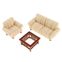 1/12 Dollhouse Miniature Furniture Living Room Couch Sofa Table Set Gold