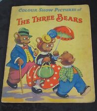 Colour show pictures of The Three Bears book. Vintage circa 1940's - 1950's