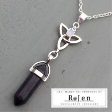 Blue Goldstone & Rainbow Moonstone Point & Triquetra Pendant Celtic Wiccan